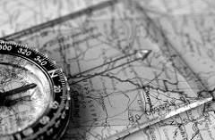 Compass and map mono